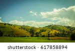 panoramic view of agricultural... | Shutterstock . vector #617858894