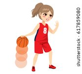 beautiful young female... | Shutterstock .eps vector #617859080
