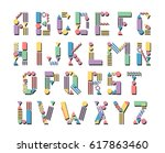 pop art geometric letters. hand ...   Shutterstock .eps vector #617863460