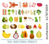 set of exotic fruits ... | Shutterstock .eps vector #617873009