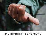 snail on a man's hand | Shutterstock . vector #617875040