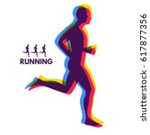 silhouette of a running man.... | Shutterstock .eps vector #617877356