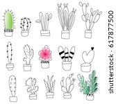 set of cactus. cute hand drawn... | Shutterstock .eps vector #617877500