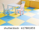 colorful table for children on... | Shutterstock . vector #617881853