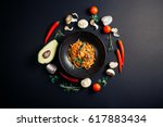 pasta in tomato sauce with... | Shutterstock . vector #617883434