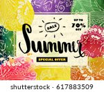 summer sale up to 70 off.... | Shutterstock .eps vector #617883509