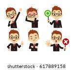 vector set of business man in... | Shutterstock .eps vector #617889158