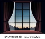 view of landscape at dusk in... | Shutterstock .eps vector #617896223