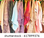 local kimono fabric in the... | Shutterstock . vector #617899376