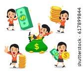 set of cartoon a businesswoman... | Shutterstock .eps vector #617899844