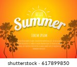 summer background with text  ... | Shutterstock .eps vector #617899850