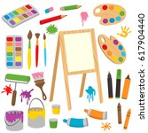 set of isolated drawing tools   ... | Shutterstock .eps vector #617904440