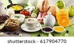 breakfast served with coffee ... | Shutterstock . vector #617904770