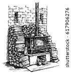 cast iron stove with firewood... | Shutterstock .eps vector #617906276