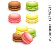 french macaroon cakes set... | Shutterstock .eps vector #617907254