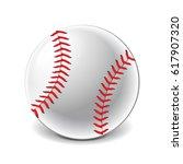 baseball ball isolated on white ... | Shutterstock .eps vector #617907320
