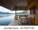 guest house on water on barrage ... | Shutterstock . vector #617907740