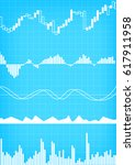 vector   business graph on blue ... | Shutterstock .eps vector #617911958