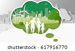 green energy concepts  family... | Shutterstock .eps vector #617916770