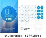 january 2018. desk calendar for ... | Shutterstock .eps vector #617918966