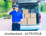 delivery concept   smiling... | Shutterstock . vector #617919518