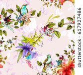 seamless pattern. nightingale ... | Shutterstock .eps vector #617927486