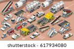 isometric airport terminal bus... | Shutterstock .eps vector #617934080