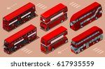 red bus isolated double decker... | Shutterstock .eps vector #617935559