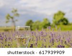 delicious lavender champagne in ... | Shutterstock . vector #617939909