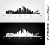 valencia skyline and landmarks... | Shutterstock .eps vector #617950634