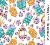hand drawn vector ramadan... | Shutterstock .eps vector #617958020