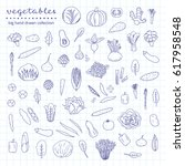 big collection of hand drawn... | Shutterstock .eps vector #617958548