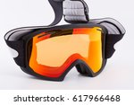 black snowboard googles with... | Shutterstock . vector #617966468