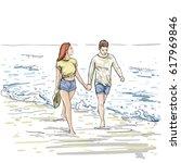 couple hold hands walking beach ... | Shutterstock .eps vector #617969846