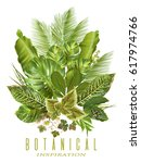 vector tropical plants vertical ... | Shutterstock .eps vector #617974766