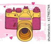 hand drawn vintage camera on... | Shutterstock .eps vector #617981744