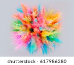 a colored explosion of powder.... | Shutterstock .eps vector #617986280