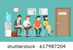 queue to the office. vector... | Shutterstock .eps vector #617987204