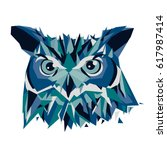 owl head vector isolated ... | Shutterstock .eps vector #617987414