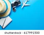 summer travel accessories on... | Shutterstock . vector #617991500