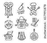hand drawn kitchen quotes set.... | Shutterstock .eps vector #617991878