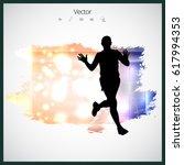 silhouette of marathon runner | Shutterstock .eps vector #617994353