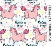 vector pattern with cute pink... | Shutterstock .eps vector #617994554