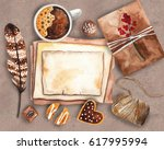 vintage watercolor mockup....   Shutterstock . vector #617995994