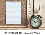 Time Management Concept With Alarm Clock On Wooden Shelf And Reminder Paper On Cork Board - stock photo
