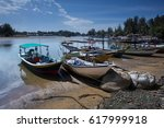 traditional fisherman boats | Shutterstock . vector #617999918