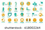 Mega collection of medical logos. Templates logos for dental clinic, orthopedic, hepatology, cardio, e.n.t. and so on | Shutterstock vector #618002264