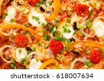 pizza with cheese and mushrooms  | Shutterstock . vector #618007634