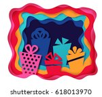 colorful gift boxes background. ... | Shutterstock .eps vector #618013970