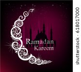 ramadan kareem the moon. vector | Shutterstock .eps vector #618017000